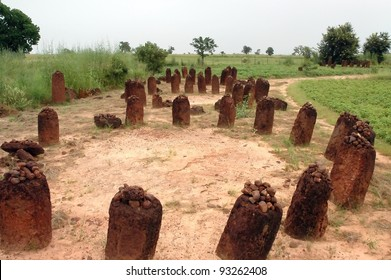 A horizontal image of the Wassu stone circles in The Gambia