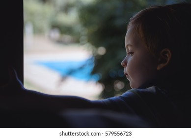 Horizontal indoors portrait of small boy looking through the glass.