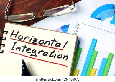 Horizontal integration concept. Notepad on the table.