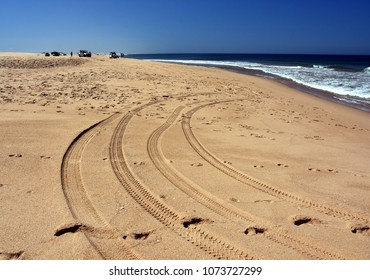 Horizontal landscape of the beach with cars. 4wd cars at Anna bay (NSW, Australia). Tyre marks on an offroad driving seaside dune.