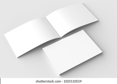 Horizontal - landscape hardcover brochure, book or catalog mock up isolated on soft gray background. 3D illustrating.