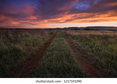 A horizontal landscape photograph of a beautiful sunset over a dirt road leading towards the distance on a grassland farmland.