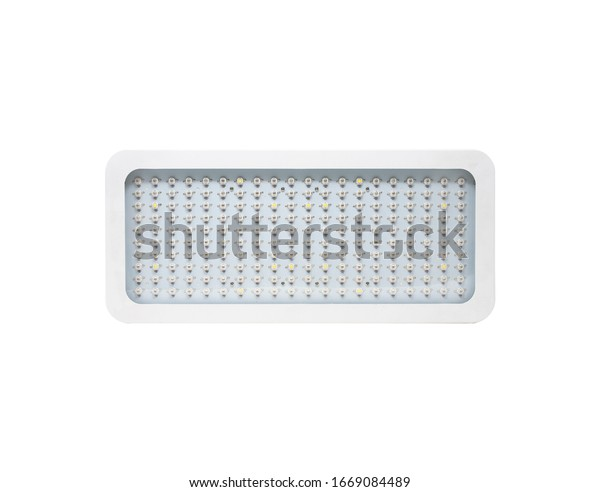 Horizontal LED grow light panel isolated on a white background. Indoor grow light for medical plants and greenhouse. Front view