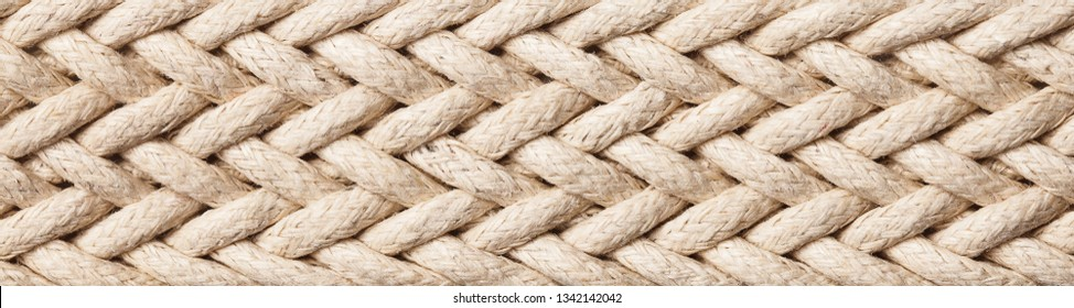 Horizontal linen rope yarn stripe texture. Long string strap pattern.