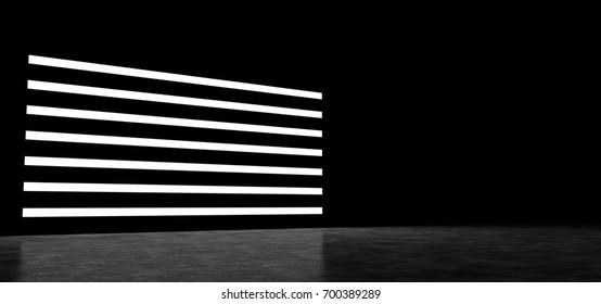 Horizontal luminous strips in a dark space. 3D Render