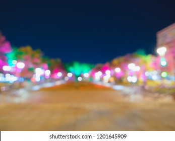 Horizontal night boulevard abstract bokeh background