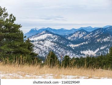 Horizontal orientation color image of Heil Valley Ranch, Colorado in winter