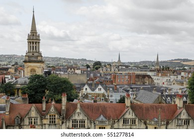 Horizontal panorama with Oxford, England. Oxford is known as the home of the University of Oxford.