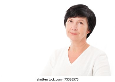 Horizontal photo of adult woman on white
