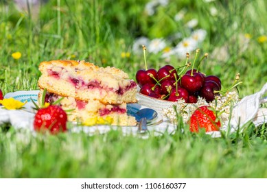 Horizontal photo with bowl full of cherries. Ripe fruit is on white towel in a garden with green grass. Next to cherries are strawberries and two portions of cherry cake on saucer.
