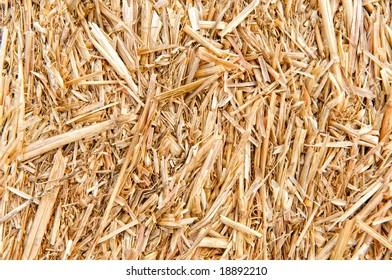 Horizontal photo of close-up of hay bale