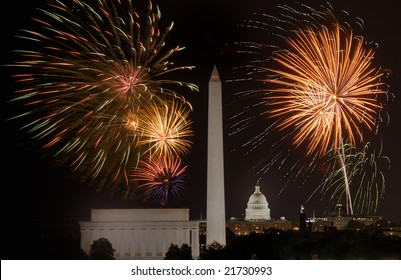 Horizontal Photo of fireworks above Lincoln Memorial, US Capitol and Washington Monument in Washington DC