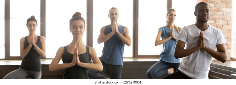 Horizontal photo group young multiracial people girls guys practicing yoga standing in Vrksasana Tree pose hands in namaste gesture. Healthy lifestyle wellness concept banner for website header design