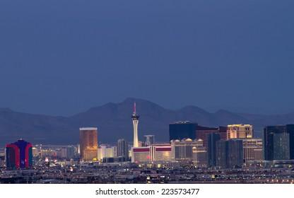 Horizontal photo of Las Vegas skyline at dusk.