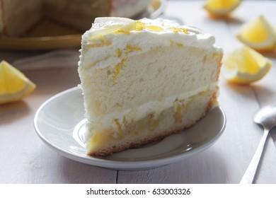 Horizontal photo of lemon cream sponge cake with zest macro
