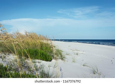 Horizontal photo of pristine white sand beach with sea oats and native beach plants overlooking sparkling blue Gulf with white breakers.