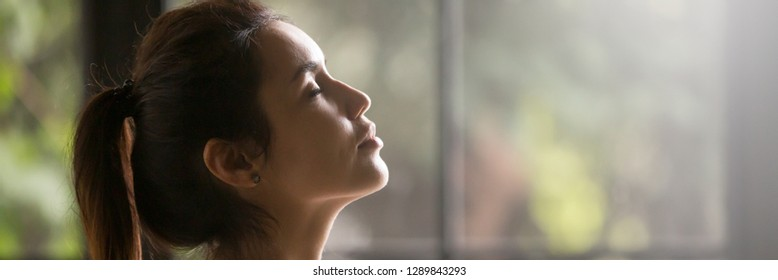 Horizontal photo side view beautiful brunette woman face with closed eyes enjoy breath fresh air dreaming do relaxation exercise feels placid, banner for website header design with copy space for text