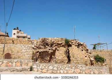 Horizontal picture of old brick house in Ramallah, capital of Palestine, Israel.