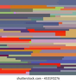 Horizontal Pixel Stripes Pattern in Dusty Blues and Purples, Bright Oranges, Bright Reds, Neutrals