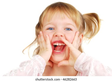 Horizontal portrait of a blond 3 year old girl screaming, her face is funny and she is very laugh! Isolated on the white.
