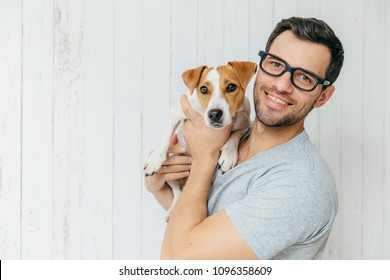 Horizontal portrait of handsome cheerful man, wears eyeglasses, holds jack russell terrirer, has glad expression, poses against white wooden wall with blank copy space. Animals and friendship