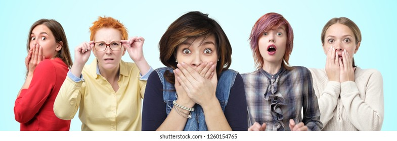 Horizontal portrait of several female closes hands over mouth in shock by what they heard. Keep secret carefully