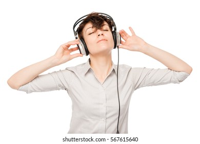 Horizontal portrait of a woman with headphones on white background