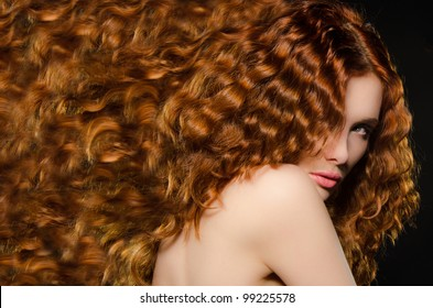 horizontal portrait of young woman with red hair