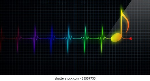 Horizontal Pulse Trace Heart Monitor with colorful music note in line.