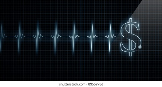 Horizontal Pulse Trace Heart Monitor with a dollar sign in line.