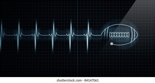 Horizontal Pulse Trace Heart Monitor with a football in line.