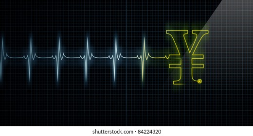 Horizontal Pulse Trace Heart Monitor with a Yellow Japanese Yen or Chinese Yuan symbol in line.