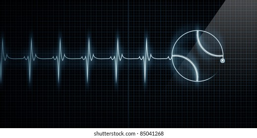Horizontal Pulse Trace Heart Monitor with a baseball in line. Concept for sports medicine, baseball players, or die-hard baseball fans.