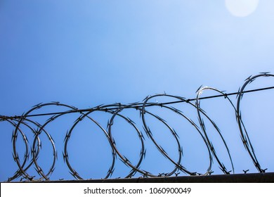 horizontal razor wire fence with lens flare