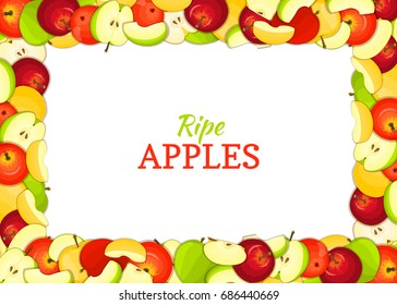 Horizontal rectangle colored frame composed of delicious apples fruit. card illustration. Rectangle apple frame Ripe fresh apples fruits for packaging design of juice breakfast food