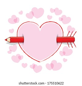 Horizontal Red Pencil Piercing Empty Drawn Love Heart like an Arrow with Drawn Feathers plus Pink infill and surrounding Pink Hearts - Raster