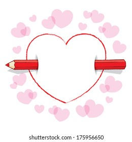 Horizontal Red Pencil Piercing Empty Drawn Love Heart like an Arrow with surrounding Pink Hearts - Raster