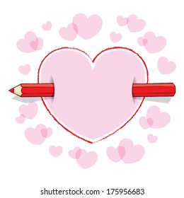 Horizontal Red Pencil Piercing Empty Drawn Love Heart like an Arrow with Pink infill and surrounding Pink Hearts - Raster