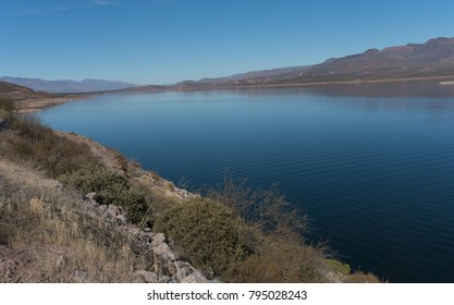 Horizontal of Roosevelt Lake in southeastern Arizona. It is part of the Tonto National Forest.