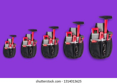 Horizontal row of textile bags for instrument for repair from small to large on purple background