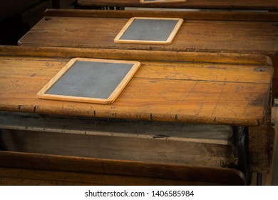 Horizontal School Desk Tops With Slates - vintage