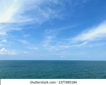 horizontal sea and blue sky