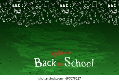 Horizontal seamless border with school elements and text welcome back to school chalk on blackboard. Modern thin line icons school supplies. Super sale doodles. illustration stock .