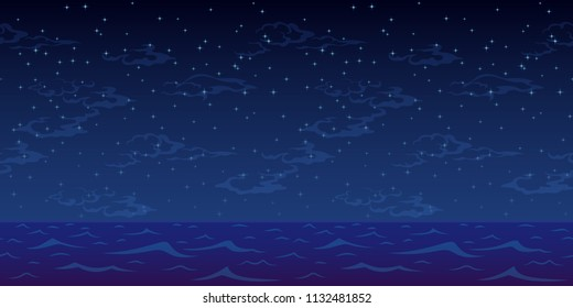 Horizontal Seamless Landscape, Night Blue Sea and Sky with Stars and Clouds.