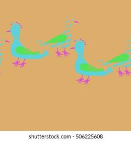Horizontal seamless pattern, halftone, birds.
