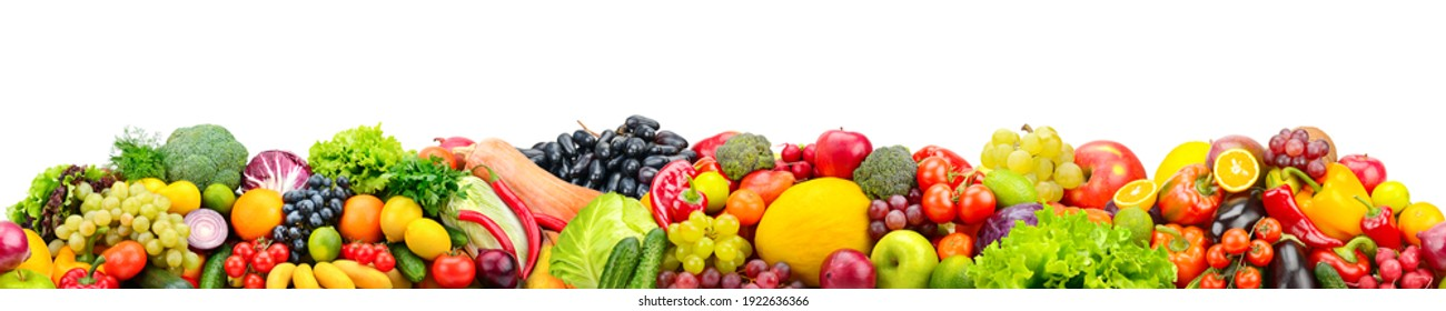 Horizontal seamless pattern from healthy fruits, vegetables isolated on white background.