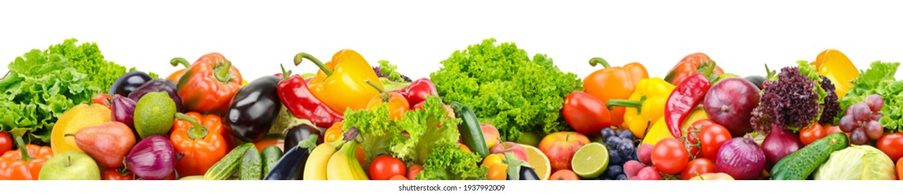 Horizontal seamless pattern from healthy fruits, vegetables and berries isolated on white background. - Shutterstock ID 1937992009