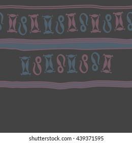 Horizontal seamless pattern of zodiac signs, doodles,  object, gemini,lion, stripes, spot, copy space. Hand drawn.