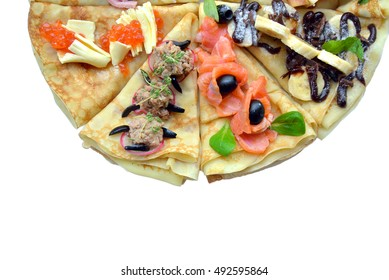 Horizontal semicircle of pancake with different stuffing isolated on white