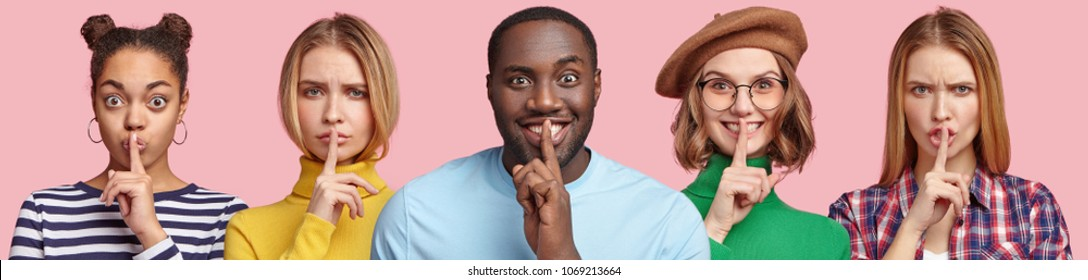 Horizontal set of diverse young people demonstrate hush sign, keeps fore finger on lips, have serious and happy expressions, demand complete silence, isolated over pink background. Be quiet!